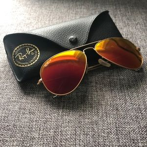 Ray Ban Aviator Flash Polarized Sunglasses orange